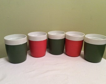 Vintage Olympian Thermoware Plastic Cups Orange And Avocado Green Drinking mugs set Plastic