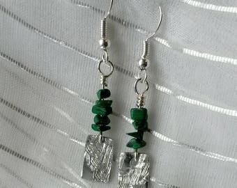 Silvery textured malachite earrings upcycled aluminum