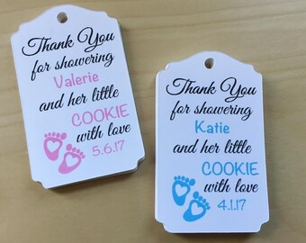 Cookie Baby Shower Favor Tags, Cookie Baby Shower Favors