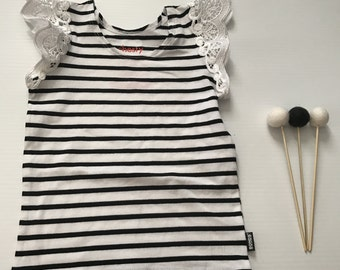 1- Flutter Sleeve Singlet- Black/White Stripe