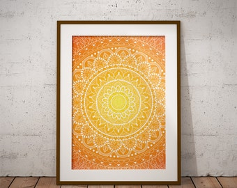 Orange Yellow Mandala Tapestry - Digital Wall Art Print, Tribal, Gradient, Bright, Decor, Bold, Scrapbook Paper
