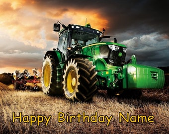 Farm Tractor Equipment Edible Image Cake Topper Personalized Birthday 1/4 Sheet