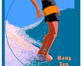Vintage Style Surfing Art Print HANG TEN Original Travel Poster Malibu Beach California Beach Pacific Coast Surfer Boy Surfing USA