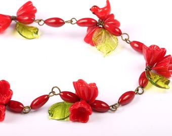Lucite Red Flower and Red Glass Bead Necklace, 1940s