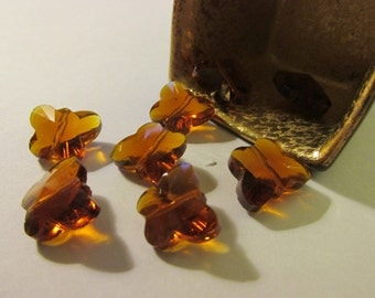 Amber Brown Crystal Butterfly Beads for Craft or Jewelry Making, 14mm, Set of 6