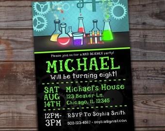 Mad Scientist Party, Mad Scientist Invitations, Mad Scientist Birthday Party, Mad Science Birthday Invites