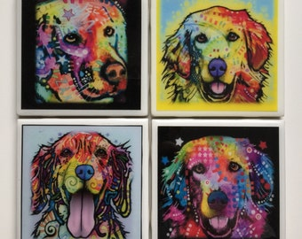 Golden Retriever Set of 4 Ceramic Tile Resin Coasters