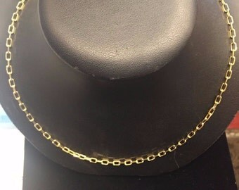 14k Yellow Gold Elongated Cable Chain Chain Necklace 20.4 inches long, 4mm wide