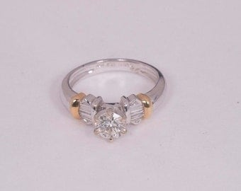 18K White and Yellow Gold Engagement Ring, size 6.75