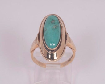 Vintage 14K Yellow Gold Turquoise Ring, size 6.5