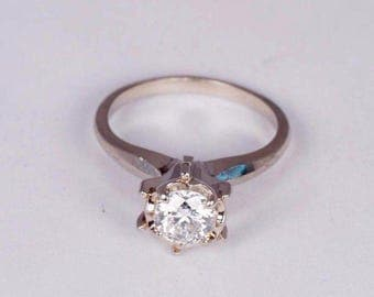 14K White Gold Solitaire Diamond Engagement Ring Illusion Mount, size 5