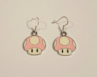 Super Mario Toadstool pink earrings