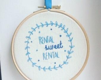 Rental sweet rental embroidery hoop housewarming