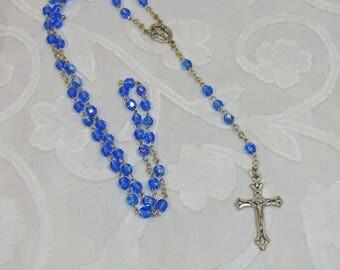 Vintage, Blue Aurora Borealis Rosary Beads (SA027)
