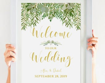 WELCOME To Our Wedding Printable, Greenery Wedding Decor, Digital Download, Personalized Wedding Sign, Gold Wedding Calligraphy #IDWS604_34C
