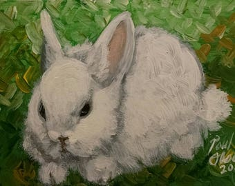 Fuzzy Baby Bunny! Original painting