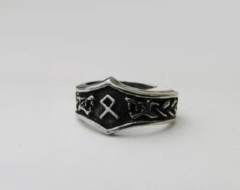 Othila Viking Rune Letter O Runic Ring - Adjustable