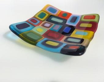 Multi-coloured retro fused glass dish