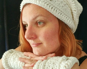 Snow Princess Hat and Fingerless Gloves