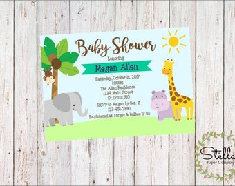 Wild Animals Jungle Baby Shower Invitation (Digital Download)