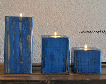 Set of 3 Wood Block Tealight Candle Holders, Rustic Reclaimed Wood, Hand Painted, Distressed Tea Light,Rustic Candle,Rustic Decor