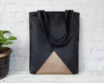 Black tote bag shoulder school laptop everyday vegan eco faux leather silver handback