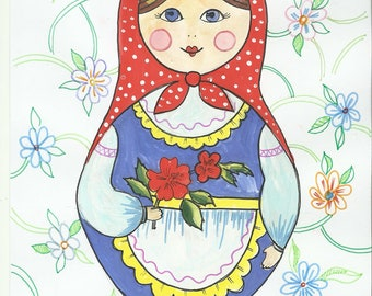 "Original drawing, Russian Doll"", A4 size"