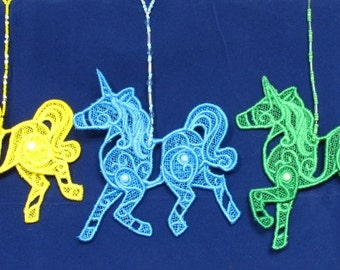 Lace Unicorn Decorations with Beaded Hanger