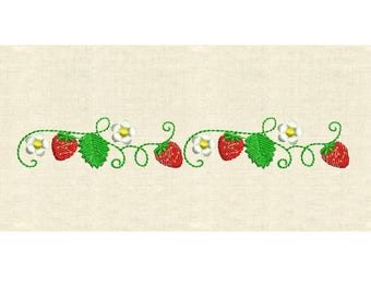 Machine embroidery design Strawberry strawberies border