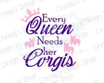 Corgi queen svg / corgi dxf / queen cut file / corgi cut file / pdf / eps / corgi clip art / vinyl crafting / scrapbook / dog lover svg