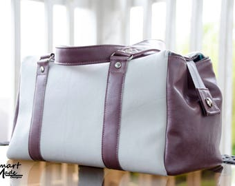 White and Pink Vinyl Purse/Louise Barrel Bag