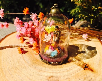 Ballerina  in a garden, real flowers, baby's breath, handmade jewelry, glass tube, 38*25mm glass bottle, story in a bottle, story