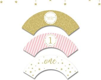 Twinkle Little Star Cupcake Wrappers,Twinkle Twinkle Little Star cupcake labels,Pink and gold Twinkle Twinkle Little Star birthday