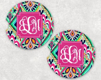 Monogrammed Car Coasters - Moroccan - Cup Holder Coasters Personalized Sandstone Coasters Car Accessories For Women Gifts For Her