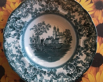 early 1900s teal blue transferware bowl w/ river scene, by F. Winkle & Co. Colonial Pottery (Stoke, England)
