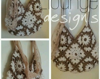 A beautiful unique granny square Crochet bag pattern PDF instant download lovely large sized bag that can be used with lining
