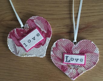 Floral 'Love' Hanging Hearts