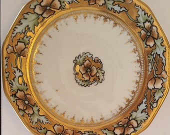 Antique Nippon Moriage Floral Pattern Cake Plate with 6 Serving Plate 1891-1911