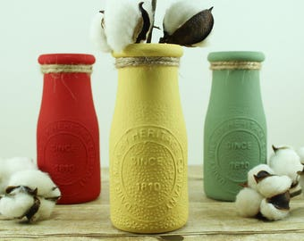 Customized Milk Bottles - Dairy Bottle Centerpiece - Gift for Her - Teacher Gift - Gift for Mom - Personalized Vase - Bridesmaid Gift -
