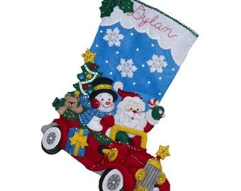 Holiday Drive Christmas Stocking - Felt Applique Kit # 86451 - Bucilla