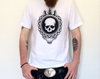 Skull White T-shirt for man in cotton - baroque style