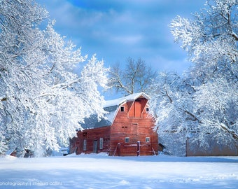 Spring Snow with a Red Rural Barn