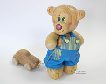 "Personalized Wooden Bear ""Myhasyk IIІ"", Eco-friendly Toy, Handmade Gifts, Wooden Toy"
