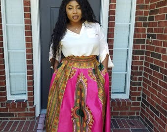 African skirt, Maxi/midi/mini skirt,  Dashiki skirt, African print skirt, Ankara skirt,  long skirt, Pink and Green skirt,Sorority