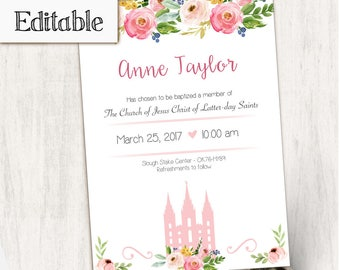 Baptism Invitation, Editable PDF,  Editable file, Instant Download, Girl Invitation flowers temple, LDS Baptism Invite, No Photo Needed