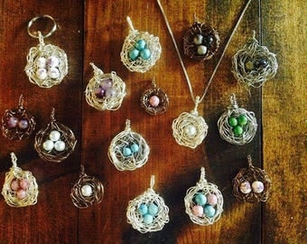 Nested, Springtime, Gift, Pendant, Silver, Mothers, Grandmothers, Special, Unique