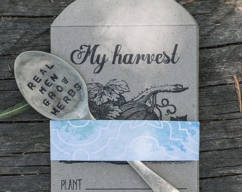 Custom gardener gift pack // Upcycled cutlery garden sign // Herb garden sign // Stamped cutlery // Seed packets // Garden lover