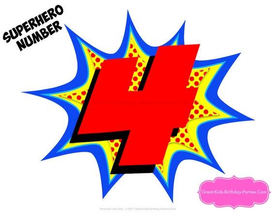 SUPERHERO NUMBER 4 Superhero Printables Number 4