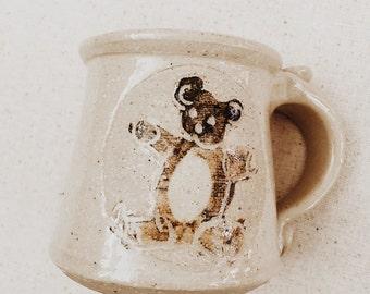 Vintage Stoneware Childrens Mug • Teddy Bear