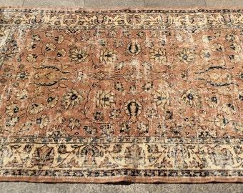 Pastel beige floral turkish rug vintage rug  6 x 4